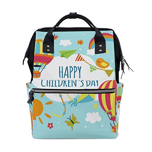 Happy Kids Day Sac à langer Sac à dos Maman Papa Sac à dos Voyage École Garçon Fille Grande Capacité Couche pour Maman Hommes Femmes