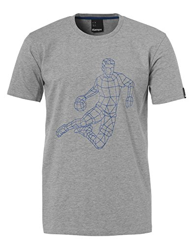 FanSport24 Kempa Handball Polygon Player T-Shirt Rundhals Herren Baumwolle grau Größe XL