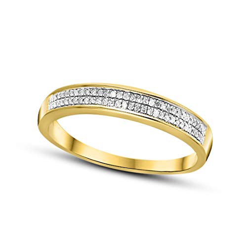 Diamond Half Eternity Twee Lagen Band Ring 1/5 cttw Diamanten Ring Voor Vrouwen Echte Diamanten Ring 9K Geel Goud GH-I2 Kwaliteit Natuurlijke Diamanten Ring
