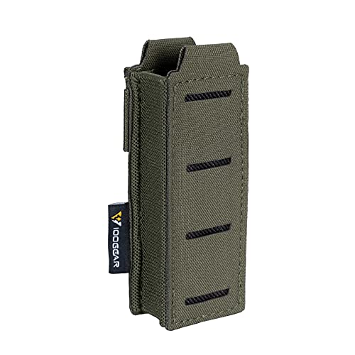 IDOGEAR Single Pistol Mag Pouch Elastic Molle Top Open Pouch for Glock M1911 92F 9mm .40 Magzines Flashlight Holster (Ranger Green)