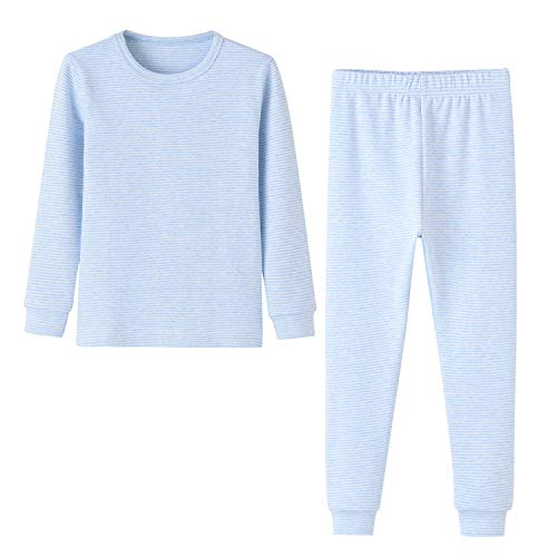 Enfants Chéris Toddler Boys Girls Jammies Stripes Organic Cotton Pajamas, (Blue, 4T)