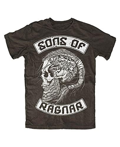 MAFUL Sons of Ragnar T-Shirt Brown Front, Wolf of Odin, Berserker, Vikings, Ragnar