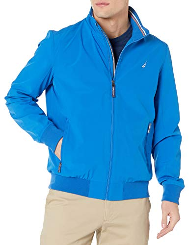 Nautica Men's Poly Zip Front Bomber Jacket, Spinner Blue, Large