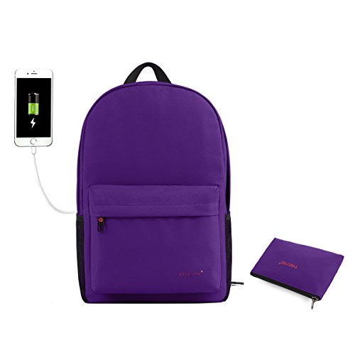 Tigernu Unisex Classic Waterproof Rain Cover School Travel Backpack with USB Charging Port Fits Under 14-Inch Laptop (Purple)