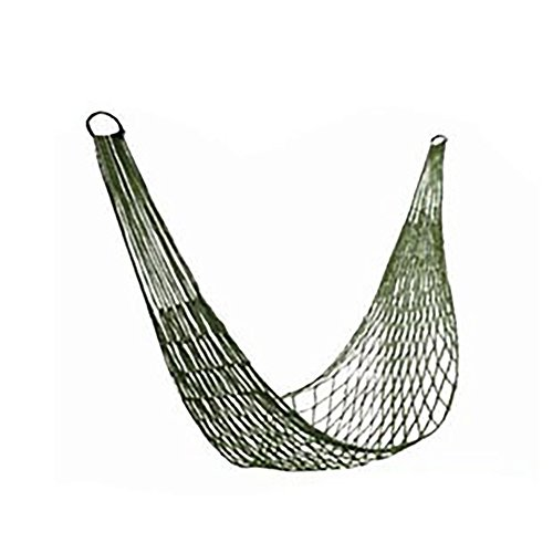 elegantstunning Outdoor Hammocks Bold Nylon Rope Mesh Hammock Indoor/outdoor Summer Breathable Net Pocket Army Green Hammock + Rope + Bag