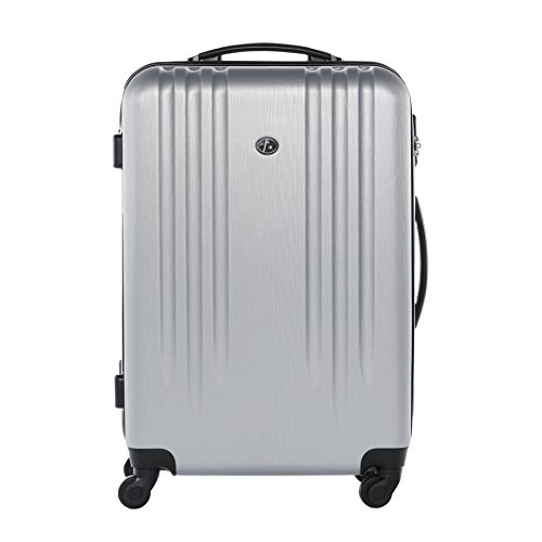 FERGÉ Large Hard-case Luggage Suitcase Hard Shell Trolley Marseille 24' Luggage 4 Wheels Silver