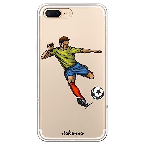 dakanna Funda para iPhone 7 Plus - 8 Plus | Jugador de Fútbol | Carcasa de Gel Silicona Flexible | Fondo Transparente