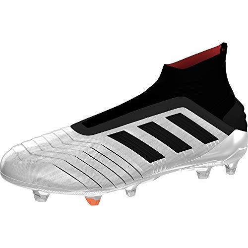 adidas Predator 19+ FG, Bota de fútbol, Silver Metallic-Core Black-Hi Red, Talla 7 UK (40 2/3 EU) ⭐