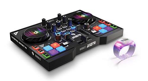 DJ Hercules DJ Control Instinct P8 Party Pack - Mesa Mezclas DJ [ultraportátil con 8 Pads de Samples y Salidas de Audio para Usar con Auriculares y Altavoces + 8 Pulseras LED]