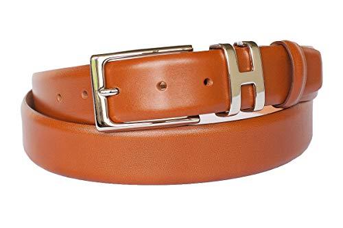 Leder-Gürtel für Herren in cognac: 100% Kalbsleder, Gürtel-Schnalle nickelfrei, hergestellt in Handarbeit, ideal als Jeans-Gürtel, Anzug-Gürtel - Vollleder Hosen-Gürtel