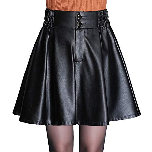 DISSA FS7816 Damen Kunstleder Rock Große Größe A-Linie Mini Röcke Leder Rock,Schwarz,XL
