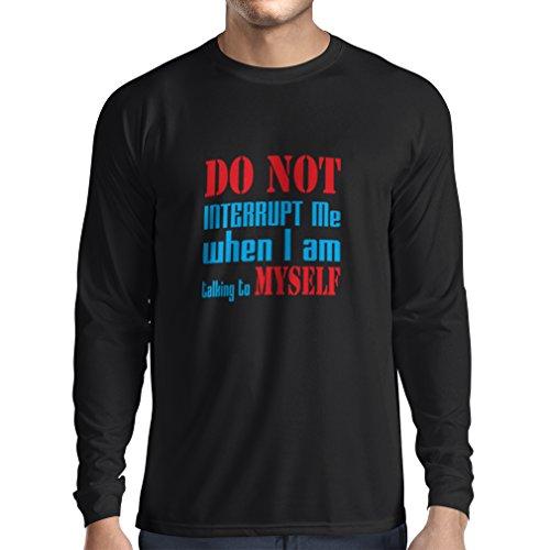 lepni.me T-Shirt Manches Longues Homme Do Not Interrupt (X-Large Noir Bleu)