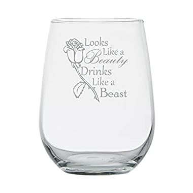 Looks Like a Beauty Drinks Like a Beast - Disney Princess Wine Glass -17 oz Stemless Glass - Made in USA -Funny Birthday Gift - Disney Lover Wine Glasses - Anniversary - Couples Gifts - Princess Belle