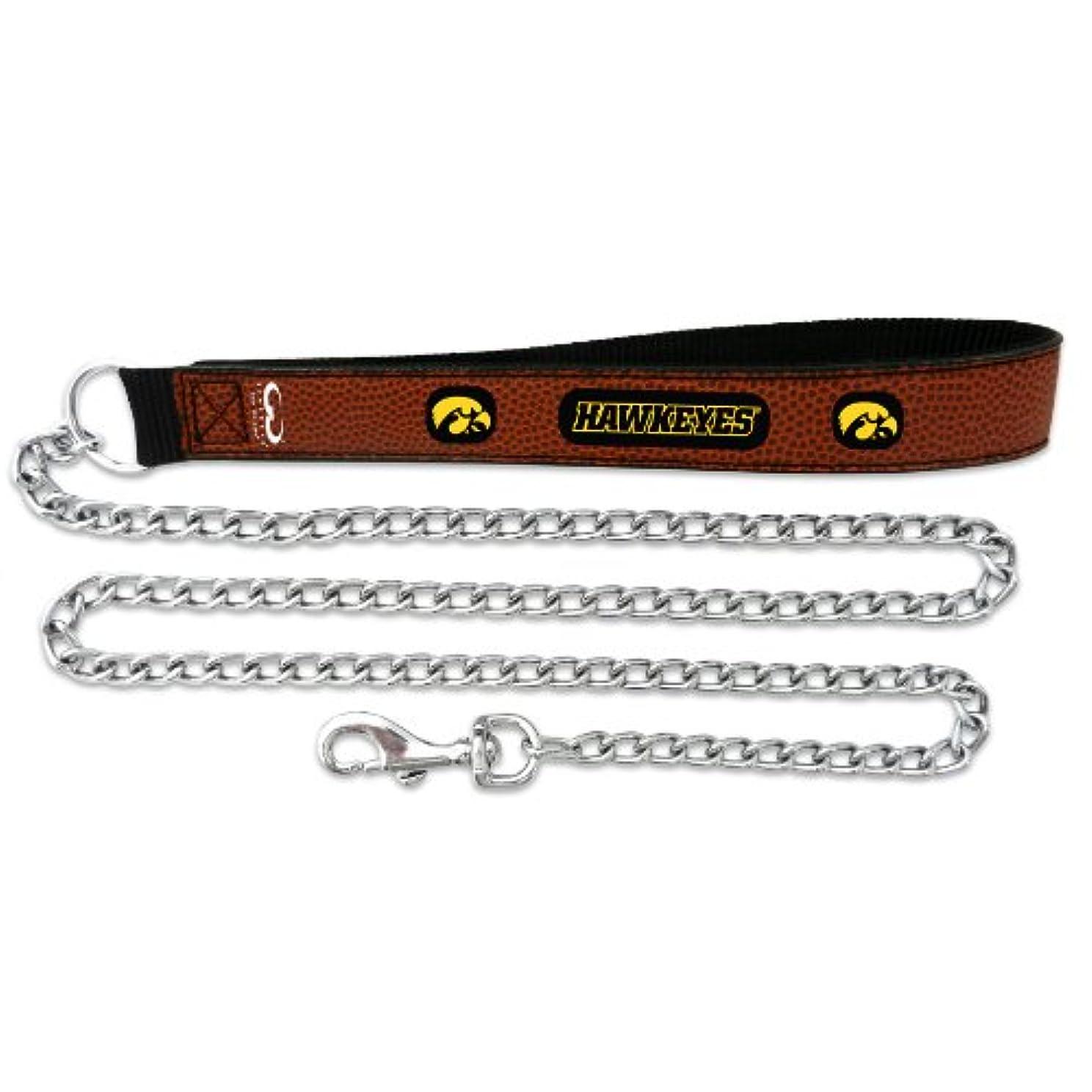 脚本膜のホストIowa Hawkeyes Football Leather 2.5mm Chain Leash - M