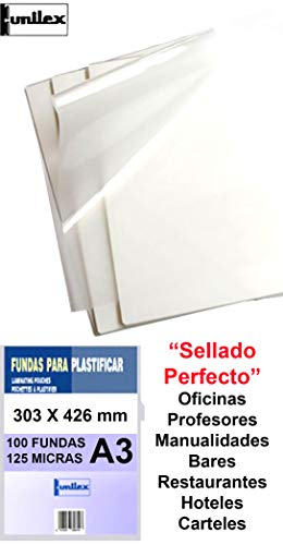 Fundas de Plastificar DIN A3 125 Micras Pack Ahorro de 100 Fundas Sellado Perfecto Gramaje Recomendado para Colegios y Empresas acabado SemiBrillo