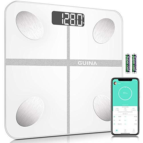 Escala de grasa corporal digital Bluetooth, báscula de baño con IMC, báscula de peso con escala de grasa corporal con 4 sensores de alta precisión, 8 mm de vidrio templado resistente a las roturas y aplicación, color blanco