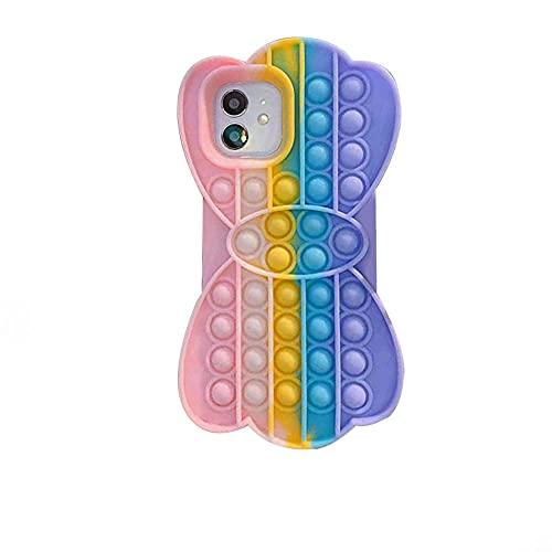 Simple Pop It Fidget Case para iPhone 12 Pro (6.1 pulgadas), juguete sensorial Figit juguete para niños Push Pop Bubble Games para niños autistas juego de rompecabezas para adultos ansiedad estrés