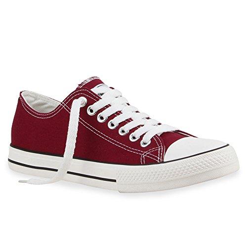 stiefelparadies Unisex Damen Schuhe Herren Schuhe Sneakers Sportschuhe Stoffschuhe Schnürer 30366 Dunkelrot Ambler 44 Flandell