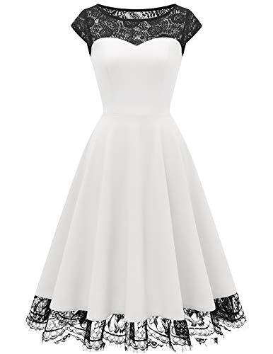 HomRain 1950er Elegant Spitzenkleid Rundhals festlich Brautjungfern Damen Cocktailkleider Abendkleid für Hochzeit Partykleid White 2XL