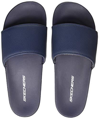 Skechers Men Padded Slide Navy/White Flip Flops Thong Sandals-9 UK (10 US) (51808-NVW)