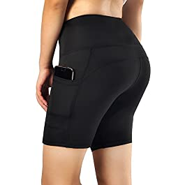 Flatik Womens Active Running Yoga Short Workout Shorts with Pocket