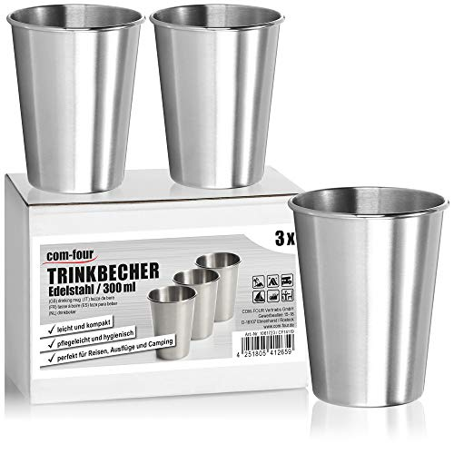 com-four® 3X Edelstahl-Trinkbecher - Hochwertiger Becher aus Edelstahl - Campingbecher 200 ml - Reisebecher bruchsicher und BPA-frei (300ml)