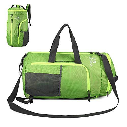 Duffel Bag Waterproof, UBaymax Lightweight Foldable Sports Duffel Gym Bag, Holdall Cross Body Shoulder Backpack 3 in 1 Hybrid Duffel Handbag Travel Hiking Camping Luggage Bag for Men and Women(Green)
