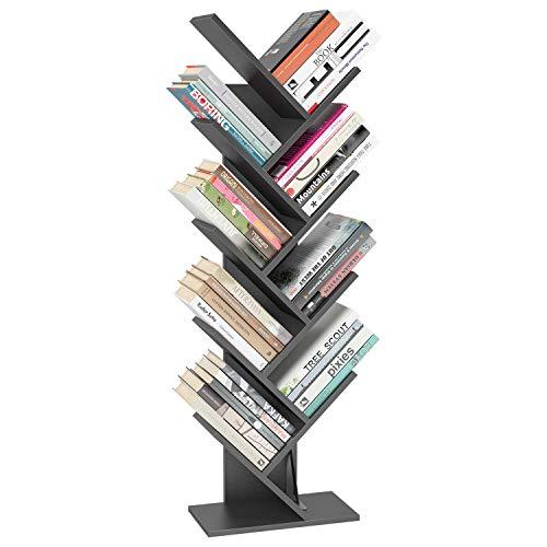 Homfa Tree Bookshelf BookRack, 9-Shelf Bookcase, Artistic Book Organizer, Space-Saving CDs Albums Books Holder in Living Room Office, Grey
