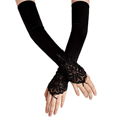 SAVITA Abendhandschuhe Satin Handschuhe Lang Opernhandschuhe Tanzhandschuhe 1920 Handschuhe für Frauen Mädchen (Fingerlose Schwarz)