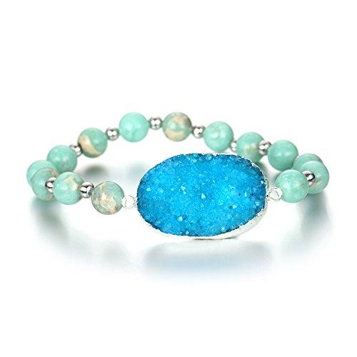 Izmist Rhodium Plated Sea Sediment Round Druzy Agate Stretch Bracelet Natural Stone Beads...