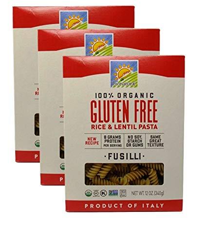 Bionaturae Organic Gluten-Free Rice and Lentil Italian Pasta | Fusilli (12 Ounces) | 3 Count