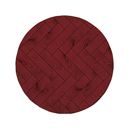Rutschfreies Gummi-rundes Mauspad Kastanienbraun Zickzack-Holz-Texturbild Parkett Baumbaumoberfläche Fischgrätenmuster Country Design Rubin Dunkelbraun 7.9