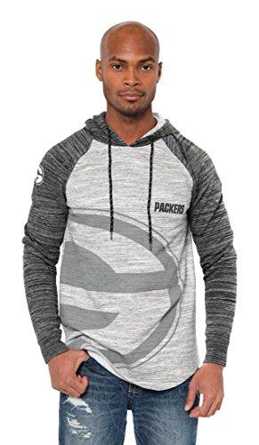 Ultra Game NFL Green Bay Packers Mens Embroidered Fleece Hoodie Pullover Sweatshirt, Raglan Gray Space Dye, Large