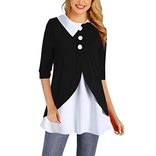 UJUNAOR Damen Langarmshirt Solides warmes Damen Split Sweatshirt mit Knöpfen Loose Plus Size Pullover Tops Bluse
