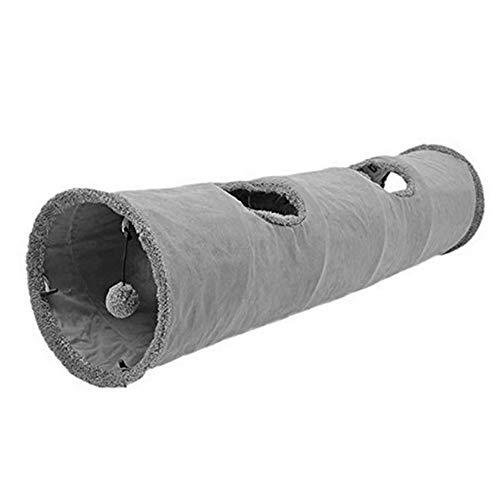 SENDILI Túnel de Gato en Gamuza - Plegable Divertido Juego Juguete Tubo de Gatos con Agujeros y Bola Suspendida para Conejos Gatitos Cachorro, Gris, 30x130cm