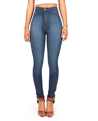 Vibrant Womens Juniors Classic High Waist Denim Skinny Jeans 11 Medium Denim