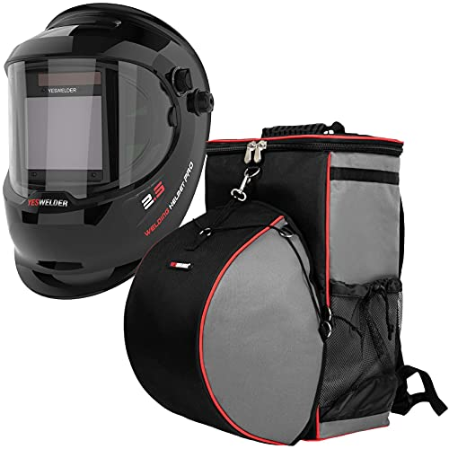 YESWELDER Large Viewing True Color Solar Powered Auto Darkening Welding Helmet with SIDE VIEW &Welding Backpack Extreme Gear Pack with Helmetcatch