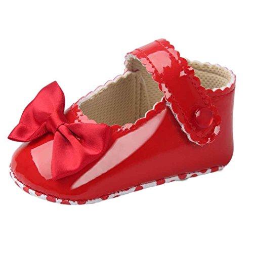 Auxma Zapatos de bebé, Niña Bowknot Zapatos de Cuero Suave (12cm(6~12mes), Rojo)