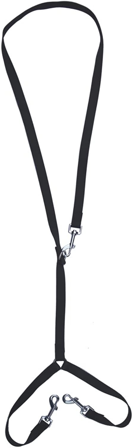 Durable Nylon Medium Dog Leash + 2Way Dog Couplers Black