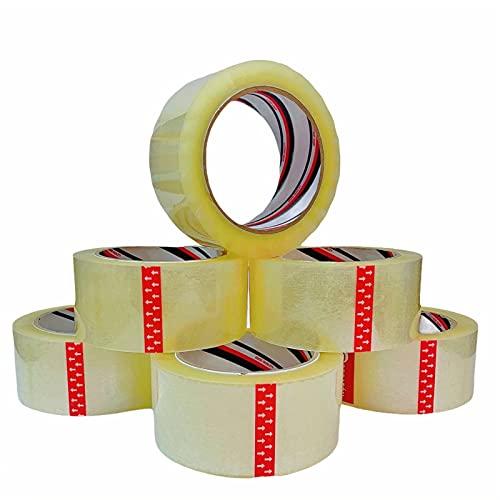 LUCIFERIA Cinta Embalar 48MM x 100M Precinto Adhesivo Extrafuerte y Resistente para Embalar,Cinta Embalaje para Embalar Paquetes y Cajas de Envío y Mudanza,6 Rollos Color Transparente