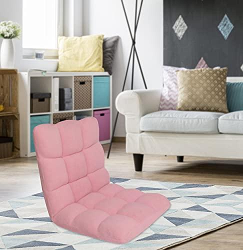 Chic Home Daphene Lounge Adjustable Recliner Rocker Memory Foam Armless Floor Gaming Ergonomic Chair, Pink