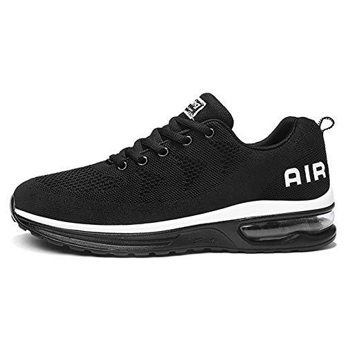 Calzado Deportivo para Hombres y Mujeres Calzado para Correr Zapatillas con amortiguación de Aire Zapatillas para Caminar al Aire Libre Blanco Negro 39