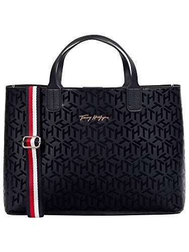 Tommy Hilfiger Damen Handtasche Tasche Henkeltasche Iconic Tommy Satchel Blau