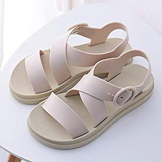 Flat Sandals Women Shoes Gladiator Open Toe Buckle Soft Jelly Sandals Female Casual Women's Flat Platform Beach Shoes Simple casual sandals and slippers (Color : Yellow, Shoe Size : 7.5)