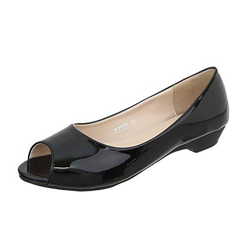 Ital-Design Peeptoes Damen-Schuhe Pump Moderne Pumps Schwarz, Gr 36, Wx005-