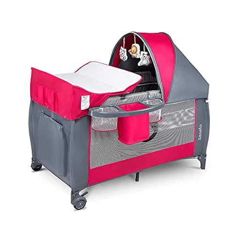 Lionelo Sven Plus 2 in 1 Baby Bett Laufstall Baby ab Geburt bis 15 kg Wickelauflage Moskitonetz luftige Seitenwände mit Seiteneingang Tragetasche zusammenklappbar (Rosa)