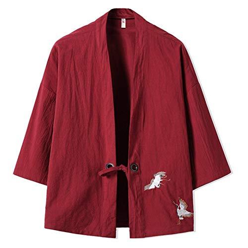 Manyao Delgado Chaqueta Japonesa Traje del Kimono Bordado Escudo Vino Retro Hombres Chinos 's