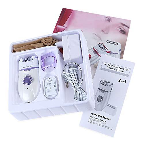 Épilateur pour femmes, Épilation électronique 2 en 1 sans fil, sèche-cheveux, brosse exfoliatrice et masseur corporel pour bras, aisselles, ligne de bikini, jambe, dos