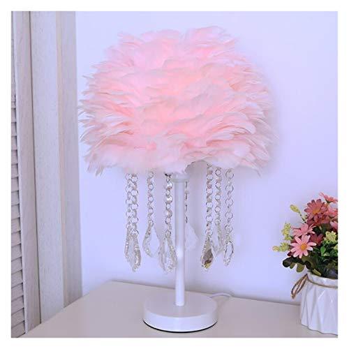 JSJJAWD Lámpara de Mesa Habitación de Lectura de Noche Moderna Sala de Estar de Plumas de Cristal lámpara de Mesa (Lampshade Color : Pink)