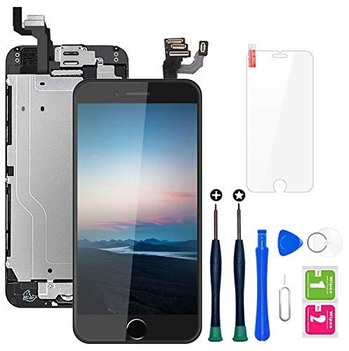 Hoonyer Pantalla para iPhone 6 Pantalla Negro táctil LCD Pantalla digitalizadora Herramientas de reparación con botón de Inicio, cámara Frontal,Sensor de proximidad, Altavoz